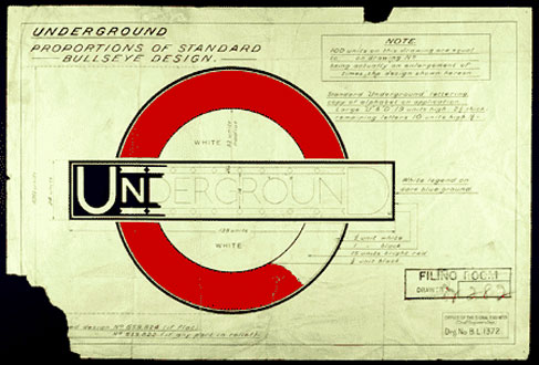 London Underground original logo sketch