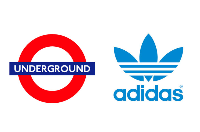 logo designs: adidas and London Underground